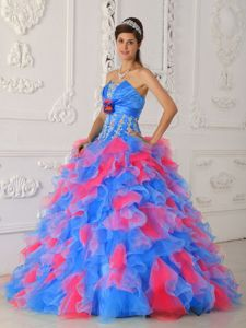 Multi-color Strapless Appliques and Flowers Quinceanera Dress in Herndon 2013
