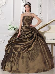 Discounted Strapless Brown Beading Quinceanera Gown Dress in Fairfax VA