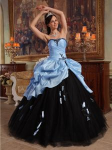 Blue and Black Sweetheart Hand Flowers Quinceanera Dress in Chesapeake