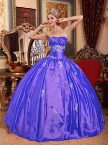 Strapless Floor-length Taffeta Appliqued Quinceanera Dress in Blue