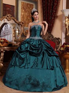 Navy Blue Strapless Floor-length Taffeta Beaded Quinceanera Dress