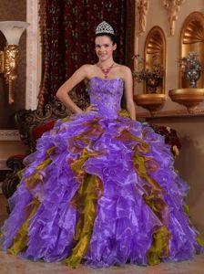Sweetheart Floor-length Organza Quinceanera Dress with Beading in Valparaiso