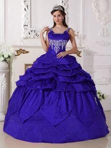 Blue Scoop Floor-length Taffeta Quinceanera Dress with Beading in Hampton