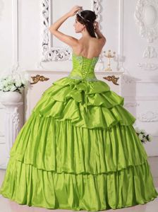 Yellow Green Sweetheart Taffeta Beaded Ruched Quinceanera Dress