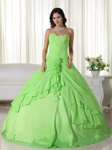 Sweetheart Chiffon Beaded Quinceanera Dress Spring Green in Houston