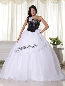 Strapless Organza Embroidered Quinceanera Dress in White in Auburn
