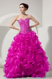 Fuchsia Sweetheart Organza Dresses for Quince with Beading in Chantilly