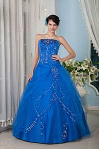 Blue Strapless Floor-length Quinceanera Gown Dress in Tulle in Vallenar