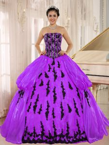 Purple Strapless Embroidered Quinceanera Gown Dress in Chuquicamata Chile