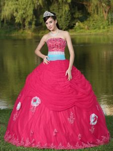 Tulle Strapless Beaded Coral Red Quinceanera Dress with Flower in Antofagasta