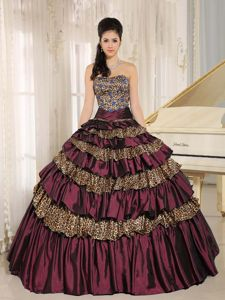 Burgundy Leopard Ruffled Appliqued Quince Dresses with Beading