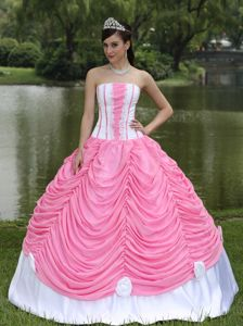 Strapless Rose Pink Custom Made Quinceanera Dress with Pick-ups