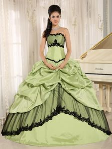 Yellow Green and Black Appliqued Quinceanera Dress with Pick-ups