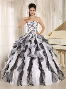 Multi-colored Embroidered Ruffled Strapless Quinceanera Gowns in Caldera