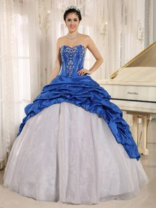 Blue and White Sweetheart Embroidered Quince Dress with Pick-ups