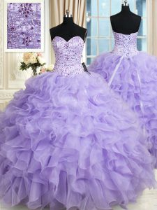 Captivating Floor Length Lace Up Quinceanera Gowns Lavender for Military Ball and Sweet 16 and Quinceanera with Beading and Ruffles