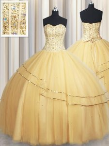 Charming Sweetheart Sleeveless Tulle Ball Gown Prom Dress Beading and Sequins Lace Up