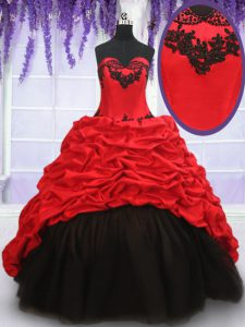 Superior Red And Black 15th Birthday Dress Military Ball and Sweet 16 and Quinceanera and For with Appliques and Pick Ups Sweetheart Sleeveless Brush Train Lace Up