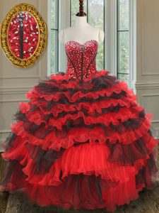 Beading Sweet 16 Dresses Red And Black Lace Up Sleeveless Floor Length