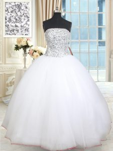 White Quince Ball Gowns Military Ball and Sweet 16 and Quinceanera and For with Beading and Sequins Strapless Sleeveless Lace Up