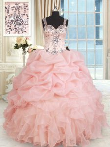 Baby Pink Ball Gowns Organza Straps Sleeveless Beading and Ruffles and Pick Ups Floor Length Zipper Ball Gown Prom Dress