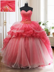 White And Red Sweetheart Lace Up Beading and Ruffled Layers Quinceanera Gown Brush Train Sleeveless