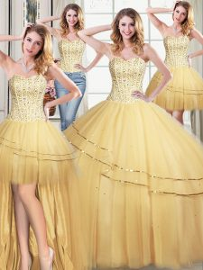 Charming Four Piece Sequins Gold Sleeveless Tulle Lace Up Quinceanera Dresses for Military Ball and Sweet 16 and Quinceanera