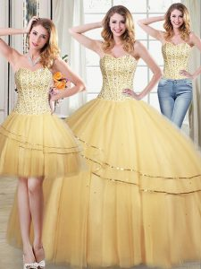 Three Piece Gold Sleeveless Floor Length Beading and Sequins Lace Up 15 Quinceanera Dress