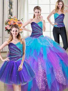 Stylish Three Piece Sleeveless Beading and Ruffles Lace Up 15th Birthday Dress