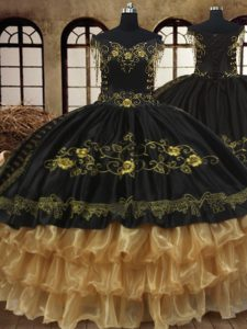 Off the Shoulder Sleeveless Lace Up Floor Length Beading and Embroidery and Ruffled Layers Sweet 16 Dresses