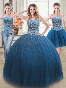 Fantastic Three Piece Teal Sleeveless Tulle Lace Up Sweet 16 Dress for Military Ball and Sweet 16 and Quinceanera