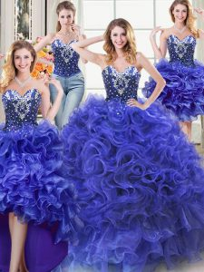 Fine Four Piece Royal Blue Ball Gowns Sweetheart Sleeveless Organza Floor Length Lace Up Beading and Ruffles Quince Ball Gowns