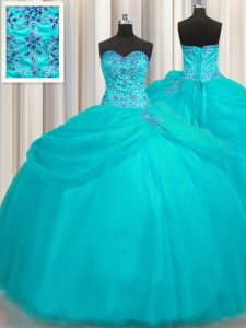 High End Puffy Skirt Aqua Blue Sleeveless Floor Length Beading Lace Up Quinceanera Dresses