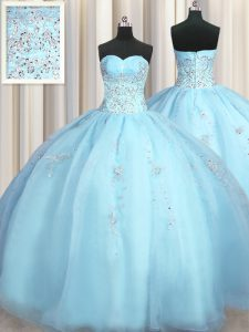 Simple Big Puffy Baby Blue Sweetheart Zipper Beading and Appliques Quinceanera Gowns Sleeveless