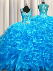 Elegant Zipper Up See Through Back Sleeveless Organza With Train Zipper 15 Quinceanera Dress in Baby Blue with Beading and Ruffles