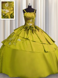 Olive Green Lace Up Sweet 16 Dresses Beading and Embroidery Sleeveless Floor Length