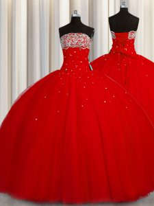 Puffy Skirt Red Strapless Lace Up Beading and Sequins 15 Quinceanera Dress Sleeveless
