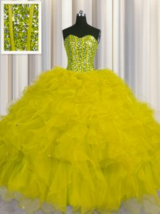 1c2e8a8da64 Visible Boning Beading and Ruffles and Sequins Sweet 16 Dresses Yellow Lace  Up Sleeveless Floor Length