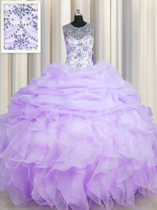 Adorable Scoop See Through Lavender Ball Gowns Beading and Ruffles and Pick Ups 15 Quinceanera Dress Lace Up Organza Sleeveless Floor Length
