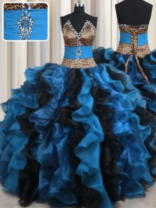 Suitable Leopard Two Tone Blue And Black Ball Gowns Organza and Printed V-neck Sleeveless Beading and Ruffles Floor Length Lace Up 15 Quinceanera Dress