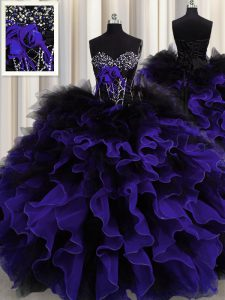 Flirting Black And Purple Lace Up Sweetheart Beading and Ruffles Quinceanera Gown Organza and Tulle Sleeveless