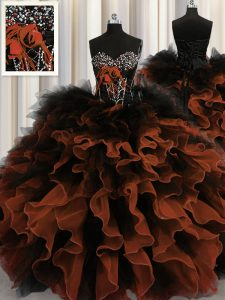 Dazzling Red And Black Sleeveless Beading and Ruffles Floor Length 15 Quinceanera Dress