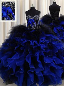 Superior Floor Length Blue And Black Quinceanera Gowns Sweetheart Sleeveless Lace Up