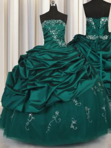 Custom Fit Peacock Green Strapless Lace Up Beading and Appliques and Embroidery and Pick Ups Quinceanera Gowns Sleeveless