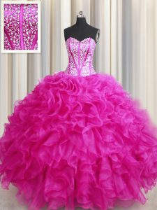 Sweet Visible Boning Bling-bling Sleeveless Beading and Ruffles Lace Up Sweet 16 Quinceanera Dress