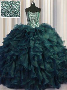 Wonderful Visible Boning Bling-bling Sweetheart Sleeveless Sweet 16 Dresses With Brush Train Beading and Ruffles Peacock Green Organza