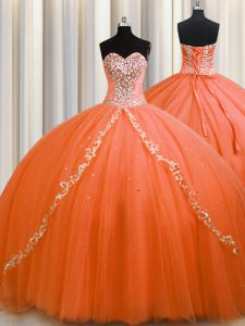 Latest Orange Tulle Lace Up Sweetheart Sleeveless Sweet 16 Dresses Brush Train Beading