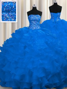 Enchanting Royal Blue Ball Gowns Strapless Sleeveless Organza Sweep Train Lace Up Beading and Ruffles Quinceanera Dress