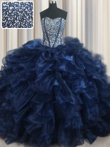 Visible Boning Bling-bling Navy Blue Sleeveless With Train Beading and Ruffles Lace Up Quinceanera Gown