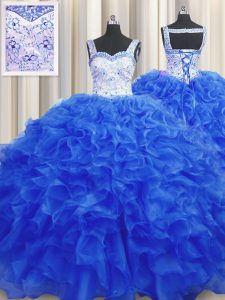 Affordable Straps Sleeveless Lace Up Sweet 16 Dress Royal Blue Organza